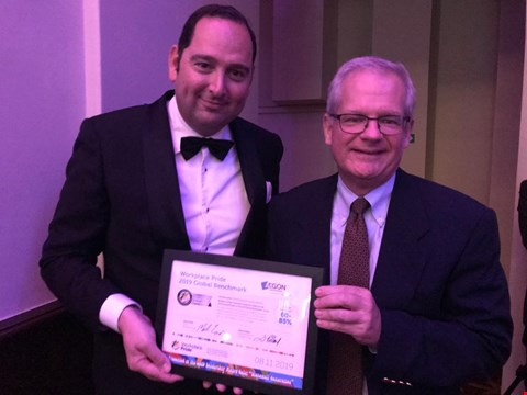 Dave Heilbron, Senior Talent Acquisition Manager, and Matt Rider, CFO Aegon Group, accept our Ambassador certificate.